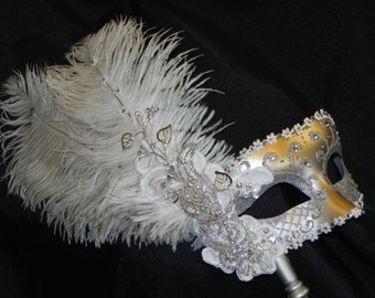 Silver Glam Venetian Masquerade Feather Mask - In stock! - Bridal Mask - White and Silver Mask