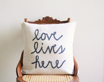 love lives here pillow cover, housewarming gift, typography, quote pillow, word pillow, newlywed gift, cushion cover, throw pillow