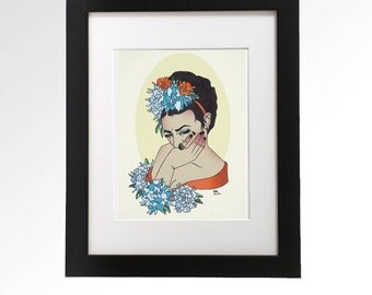Frida Kahlo.  Giclee ink print by Ashley Hoey, 8.5 x 11.