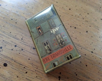 Vintage Hand Made Brooch Pin Rectangular Apartment Building