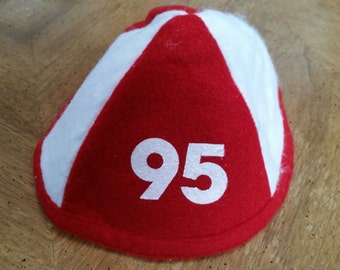 Vintage Red and White Felt Graduation Beanie Class of 1995