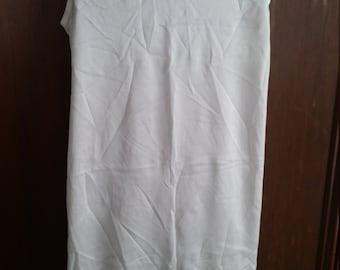 Vintage Girls White Slip Nylon Lace Trim Ruffle Hem