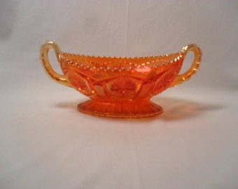 Vintage Marigold Carnival Glass with Starburst Pattern with Sawtooth Edge Relish or Pickle Dish