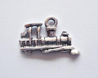 Small Train Locomotive Charms - Antique Silver