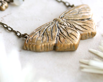 Gold Butterfly Necklace, Moth Necklace, Butterfly Pendant, Moth Jewelry, Butterfly Charm, Moth Art, Butterfly Jewelry, Insect Jewellery
