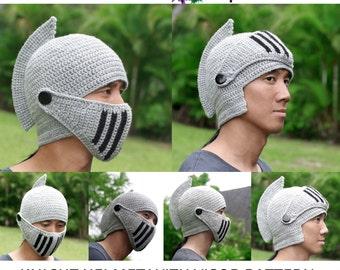 Pdf Crochet PATTERN Adult Men Woman Knight Hat RolePlay Crocheted Knight Helmet Hat with Visor Pattern