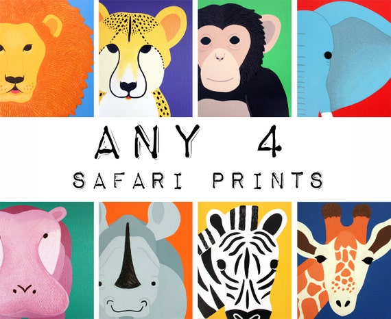 Safari nursery prints for baby & child. SET OF ANY 4 modern prints of jungle zoo animals theme for kids rooms and playrooms