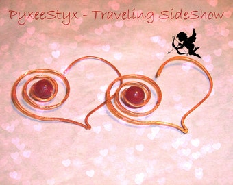 Heart Hoop earrings, Bullseye, Ruby Jade, red, gemstones, copper, rush orders, SRAJD, by PyxeeStyx - Traveling SideShow