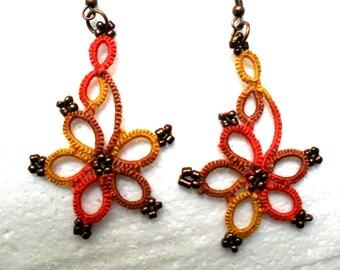 Handmade tatted earrings, multicolore earrings, lace earrings, lace jewelry
