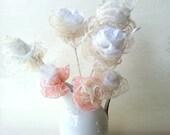 20% Off- Set 5 Crochet  Lace flowers, Decor wedding favor, Centerpiece  Wedding, Rustic decor wedding table,  Country shabby chic flowers