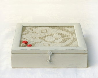 Wooden Lace  Box,  Wooden treasury rustic box, Holiday gift idea, Shabby chic Decor, Country wooden lace box, Jewelry box, Memory box.