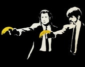 Banksy Canvas (READY TO HANG) - Pulp Fiction Stencil - Multiple Canvas Sizes