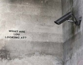 Banksy Canvas (READY TO HANG) - What Are You Looking at? - Multiple Canvas Sizes