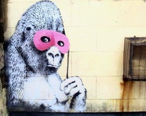 Banksy Canvas (READY TO HANG) - Gorilla Masked - Multiple Canvas Sizes