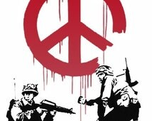 Banksy Canvas (READY TO HANG) - Soldiers Peace White - Multiple Canvas Sizes