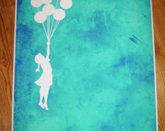 Banksy Print  - Balloons Teal - Multiple Paper Sizes