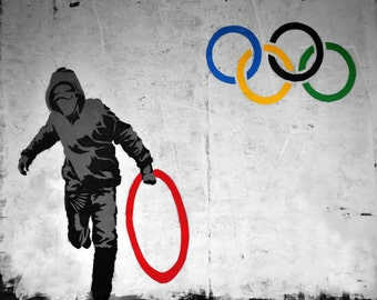 Banksy Poster Print  - Olympic Thief - Multiple Paper Sizes