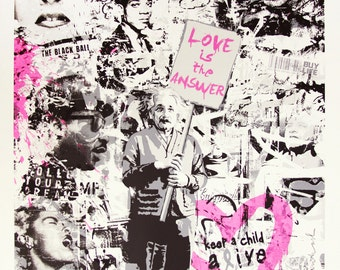 Mr Brainwash Canvas (READY TO HANG) - Einstein Love - Multiple Canvas Sizes