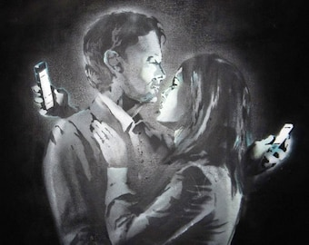 Banksy Canvas (READY TO HANG) - Mobile Lovers - Multiple Canvas Sizes