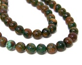 """Green """"Opal"""" Chalcedony Beads, 8mm round natural gemstone bead, Full and half strands available  (529S)"""