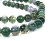 Moss Agate beads, 10mm round gemstone, HALF STRAND (703S)