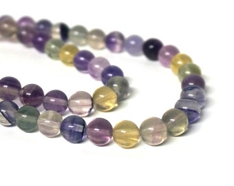 Rainbow Fluorite beads, 8mm round natural gemstone bead, full & half strands available  (605S)