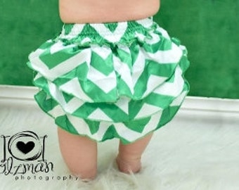 Green and White Chevron Satin Ruffled Bloomers