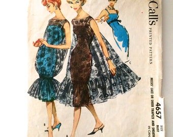 50s McCalls 4657 5701 Evening Cocktail Sheath Dress  with Lace Overdress Size 12 Bust 32