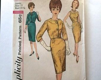 60s Simplicity 4173 SHEATH Dress Knee Length, Sleeveless with Jacket - Size 11 Bust 31