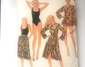 80s Vogue 7980 Long Sleeve Tunic Top, Wrap Skirt, Bathing suit with Criss Cross Back Size 12 Bust 34