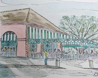 Cafe du Monde Original Watercolor, Pen, and Ink Painting French Quarter New Orleans Louisiana