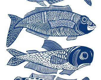 linocut, Four Fish, fish, blue and white, gift for him, fishing, beach house, ocean, water, navy blue, printmaking, home interior, boat