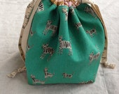 small knitting or crochet project bag - tiger paint