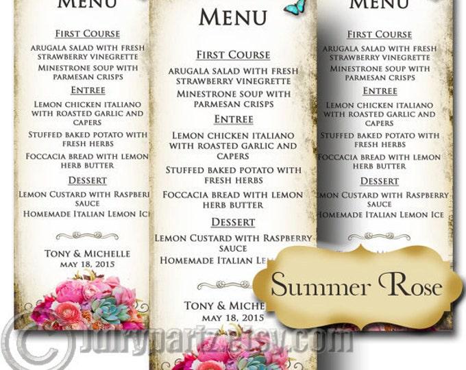 SUMMER ROSE, Wedding Menu, Printable Digital Images, Weddings, Parties, Bridal Shower, Baby Shower, Birthday, Wedding Decorations