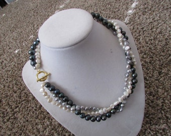 Black White Pearl Necklace,Bridal Jewerly,Pearl Jewelry,Pearl Necklace
