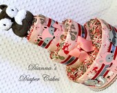 Baby Diaper Cakes Woodland Animals Fox Girls Shower Gift or Centerpiece