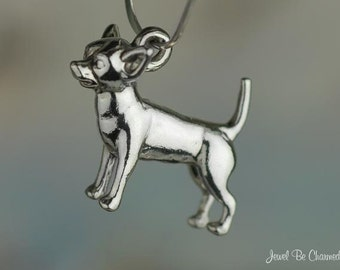 Sterling Silver Chihuahua Charm Dog Breed 3D Chihuahuas Solid .925