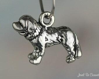Saint Bernard Charm Sterling Silver  Dog Breed Small 3D Solid .925