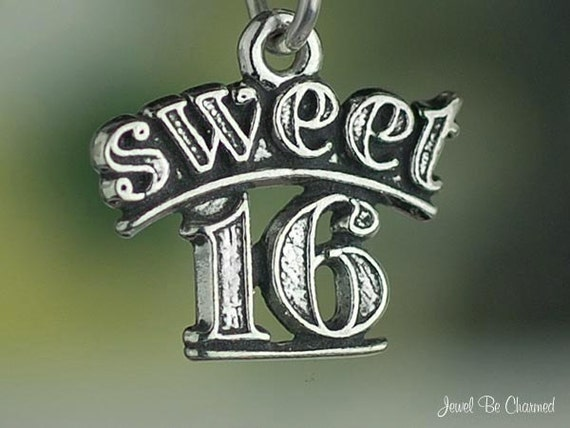 Sweet 16 Charm Sterling Silver for a Sixteenth Birthday Small .925