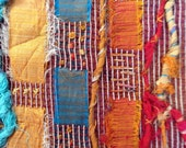 Small Art Quilt, Abstract Art, Fiber Art, Wall Hanging, Small Quilt, Gold Bronze Rust Turquoise