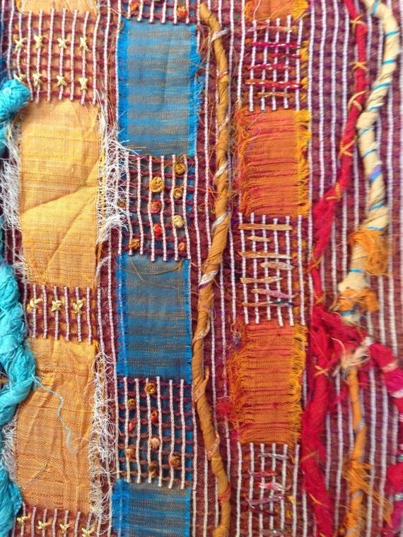 Small Art Quilt Abstract Art Fiber Art Wall Hanging Small