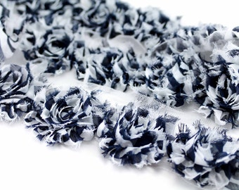 Black and White Stripe shabby flower trim by the yard - shabby rose trim - wholesale flower trim - shabby trim-rose trim-chiffon trim