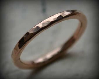 womens 14k rose gold hammered wedding band - handmade artisan designed 14k gold wedding or engagement band - customized