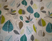"Teal Blue Green Floral Fabric Funky UK Contemporary Modern Cotton per Metre (39"" x 56"")"