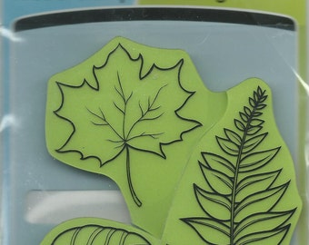 Rubber Stamp Set  --  NEW  -- Leaves Cling Stamps --  Inkadinkado Brand.  (#637)