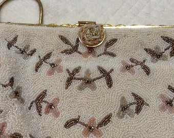 Vintage SAKS FIFTH AVENUE White Seed Pearl Beaded Formal Bag with Pink Flowers France