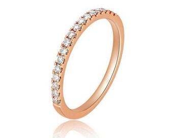 Petite Pave Rose Gold Diamond Wedding Band