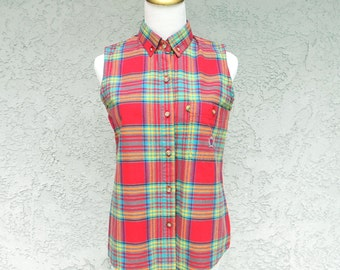Plaid Womens Shirt - Vintage 90s Vibrant Rainbow Plaid Sleevless Cotton Blouse w Embroidered Crest - Preppy Clueless Movie Top - Small S XS