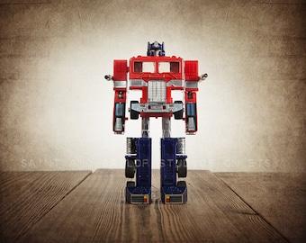 Vintage Transformer Optimus Prime on Vintage Brown Background, Photo Print, Boys Room, Boys Wall Art, Boys Decor, Playroom Decor