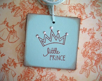 Little Prince Tags - Baby Boy Tags - Crown with Glitter - Set of Six
